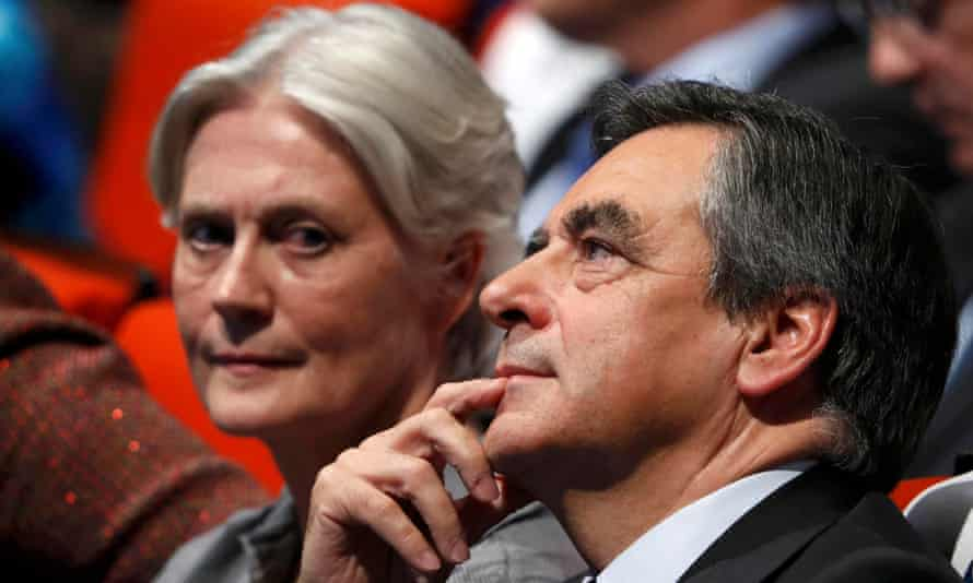 François Fillon, pictured at a rally with wife Penelope