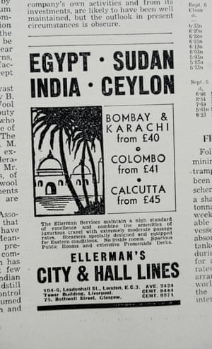 An advert in the Guardian Weekly in 1939 for luxury international travel via steamer
