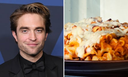 Actor Robert Pattinson and a bowl of pasta