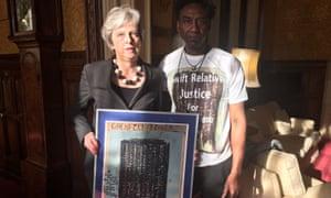 Theresa May with artist Damel Carayol