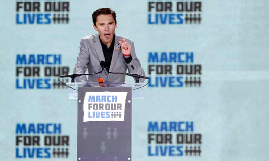 David Hogg, a student at the Marjory Stoneman Douglas high school, speaking at the March for Our Lives event.
