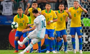 Lionel Messi tries to get Argentina back into the game with one of his trademark free kicks.