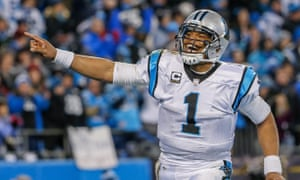 Cam Newton reacts after the Panthers scored against the Arizona Cardinals during the NFC Championship playoff game EPA/ERIK S. LESSER