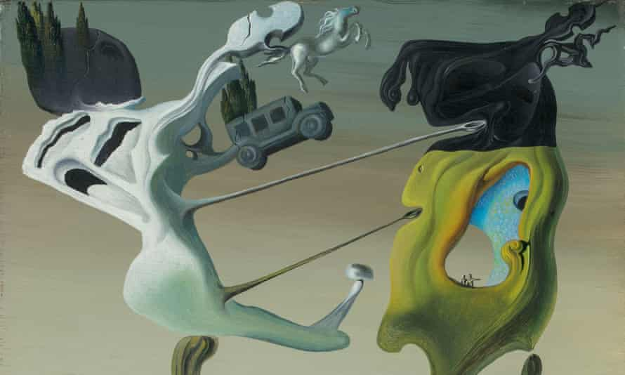 Cropped image of Maison Pour Érotomane, one of the paintings by Salvador Dalí.