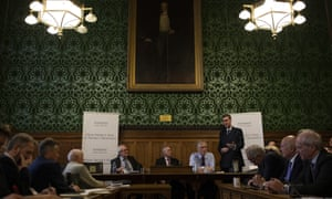 Jacob Rees Mogg (standing) speaking at the launch of the Economists for Free Trade report