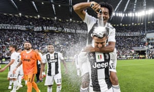Juan Cuadrado sprays shaving foam on to Cristiano Ronaldo's head after Juventus won the Serie A title.