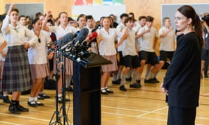 Students at the school greeted Ardern with the performance of a haka.