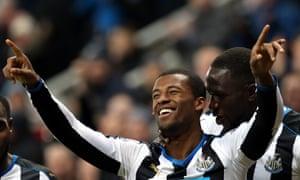 Newcastle United's Georginio Wijnaldum delighted with his goal.