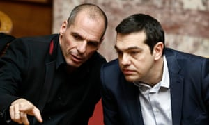 Yanis Varoufakis (left) has opposed the bailout deal struck by Alexis Tsipras.