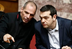 Greek Prime Minister Alexis Tsipras and finance minister Yanis Varoufakis chatted during the first round of the presidential vote.
