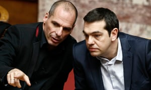 Yanis Varoufakis, left, with the Greek prime minister, Alexis Tsipras, in 2015.
