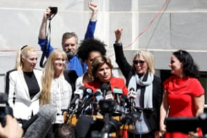 Attorney Gloria Allred stands with accusers of actor and comedian Bill Cosby after a jury convicted him in a sexual assault retrial at the Montgomery County Courthouse in Norristown, Pennsylvania, U.S., April 26, 2018.