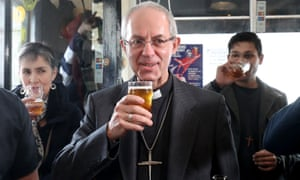 Justin Welby at the Four Candles pub in Kent