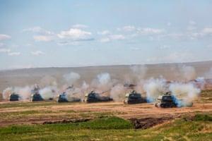 Russian self-propelled artillery during a live-firing drill