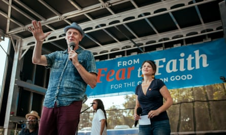 Doug Pagitt, executive director of Vote Common Good, and Cristy Berghoef, CEO of the Institute of Faith, Justice & Dialogue, speak to the crowd at the Vote Common Good rally in Greensboro, North Carolina.