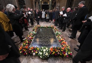 Flowers laid by the Queen and German President Dr Frank-Walter Steinmeier lay together at the Grave of the Unknown Warrior at Westminster Abbey