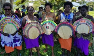 Bougainville women attending a reconciliation ceremony ahead of the independence referendum which begins on Saturday.