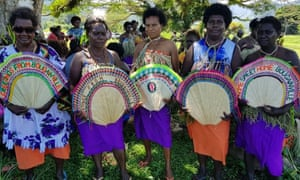 Women in tribal colours attended a Bougainville reconciliation ceremony ahead of independence referendum in Kokopo in East New Britain in November 2019, as part of the peace process.