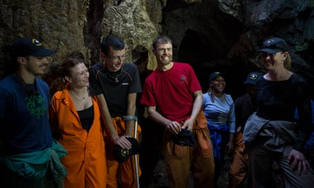 Members of the Rising Star expedition team inside the cave.