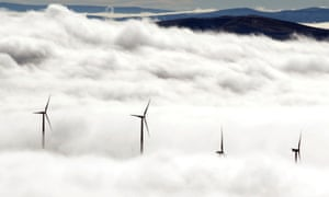 TURBINES ABOVE THE CLOUDS<br>FILE- In this Nov. 14, 2012, file photo, wind turbines at the Vantage Wind Farm stand above the clouds at Vantage, Wash.  Renewable energy is derived from renewable sources such as wind, solar, geothermal or plant matter. This type of energy is growing fast in the U.S., but it remains a small contributor to the nation s energy mix. (AP Photo/Yakima Herald-Republic, Gordon King, File)