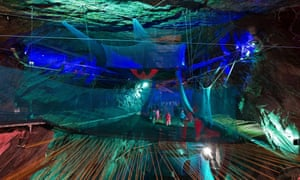 Bounce Below, a network of giant trampolines, walkways and slides suspended in the caverns of the 176-year old disused Llechwedd slate mine near Blaenau Ffestiniog.