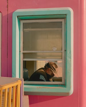 Will, in the helter-skelter booth. Cleethorpes, Lincolnshire.