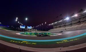Hamilton drives behind Bottas