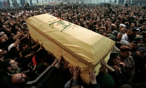 Mourners carry the coffin of Hezbollah commander Imad Mughniyeh in 2008 after he was killed in a car bombing