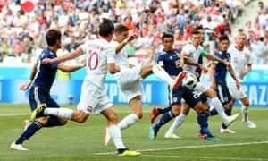 Poland's Jan Bednarek scores their first goal.