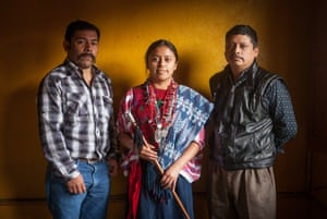 Maribel Cal, 2017-2018 indigenous representative of San Cristóbal Verapaz with her father and teacher.