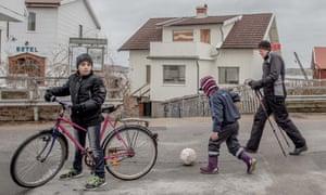 Young refugees in Kladesholmen, Sweden.
