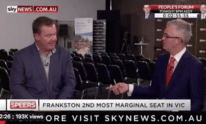 Liberal candidate for Frankston Michael Lamb interviewed by Sky News's David Speers.