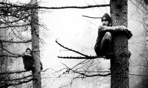 Protesters occupy trees on the proposed route of the Newbury Bypass in Berkshire, 1996