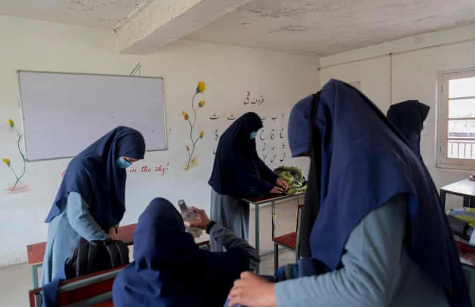 Girls in their classroom after their lunch break, Baramulla, Kashmir.