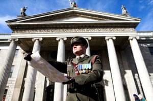 Captain Peter Kelleher from the 27th Infantry Battalion reads the Proclamation at the GPO on O'Connell Street