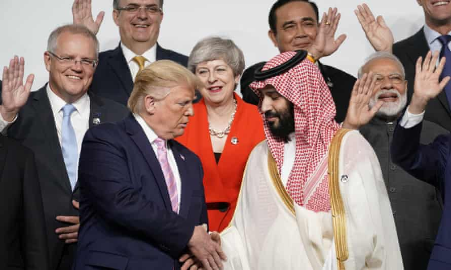 Donald Trump shakes hands with crown prince Mohammed bin Salman at the G20 leaders summit in Osaka, Japan, in June.