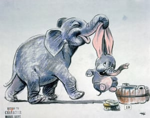 Story sketches for Dumbo (1941) by Bill Peet.