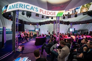 The 'We Are Still In' pavilion, where a delegation of US business, states and city government leaders presented the America's Pledge stating their commitment to reduce greenhouse gas emissions despite Donald Trump's threat to withdraw from the Paris agreement.