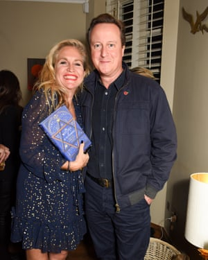 David Cameron at a book launch with writer Imogen Edward-Jones.