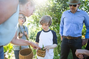 The Wolff family attend a foraging class with expert Karen Sherwood at Beacon Food Forest in Seattle.