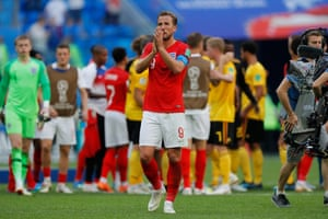 Harry Kane applauds the England fans.