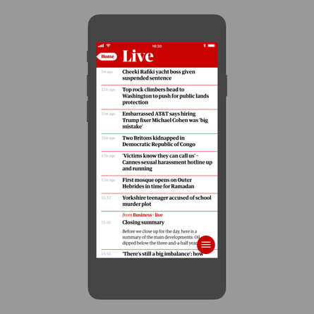 The Guardian app: new Live feature