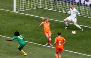 Henriette Akaba's shot is deflected just wide.