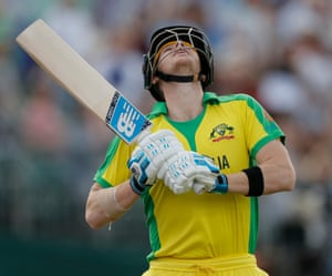 Australia's captain Steve Smith looks to the sky as he walks out to bat against Afghanistan amid a chorus of boos at the County Ground in Bristol.