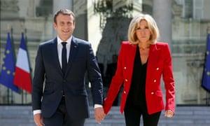 Emmanuel and Brigitte Macron at the Élysée Palace.
