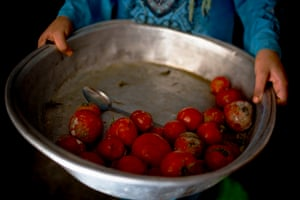 A girl in Zahlé displays the fruit her family will eat that day