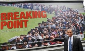 Nigel Farage with the Breaking Point poster in June 2016.