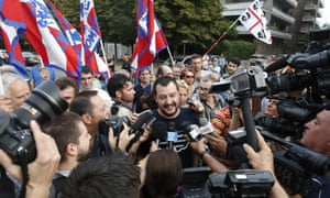 Matteo Salvini, centre, at a protest organised by the Northern League in July.