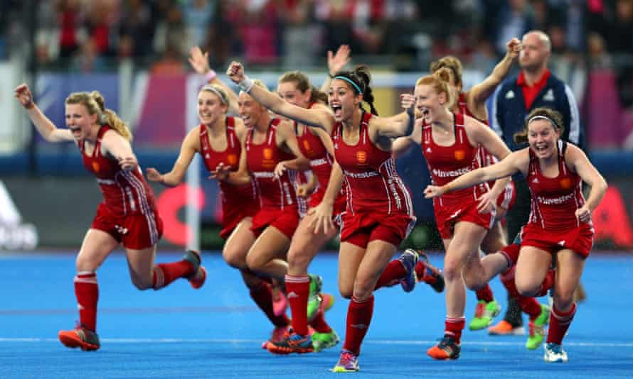England celebrate their dramatic shoot-out win over the Netherlands at the Olympic Park.
