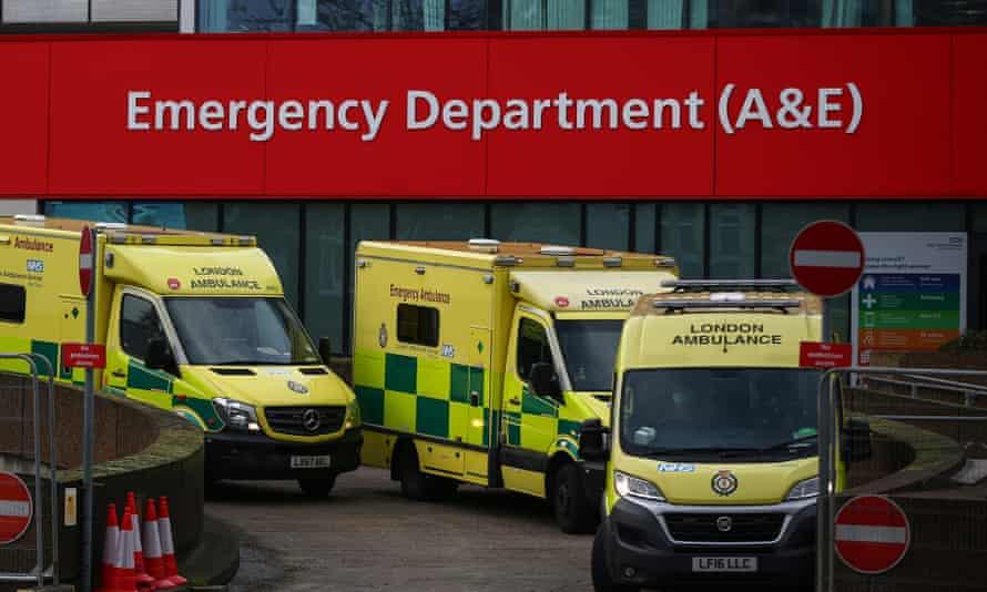 Ambulances at St Thomas' hospital, London